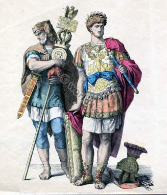 Ancient Roman general and Germanic mercenaries costumes. Military dresses. Knights amor. Template for carnival costume ideas. Soldiers clothing
