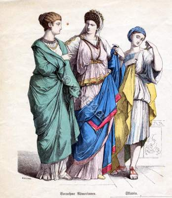 Noble Roman women and slave girl costumes. The Corset and the Crinolin.