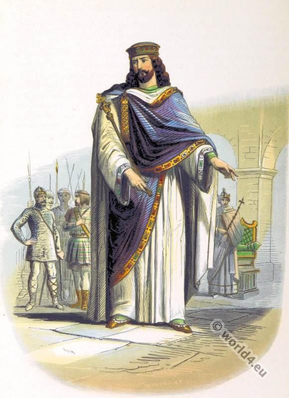 Frankish king Clovis I, Merovingian dynasty. Medieval clothing