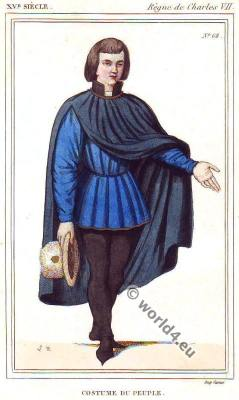 Medieval male costumes, Middle ages, 15th century fashion,Charles VII