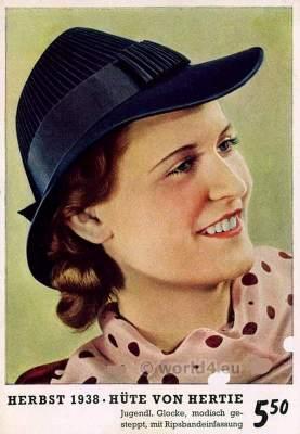 German Vintage Headdress. 1930s fashion. Art deco hat fashion