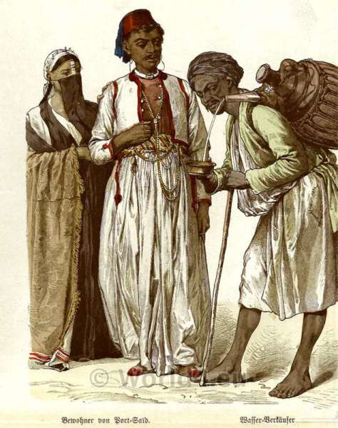 Port Said, Water Seller, costumes, Traditional, Arabian, clothing, Egypt, dresses.