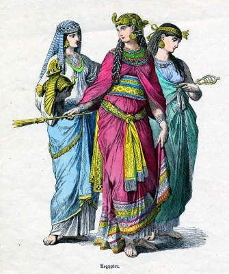 Ancient Egyptian costumes. Cleopatra clothing with noblewomen. Historical dresses of Egypt.