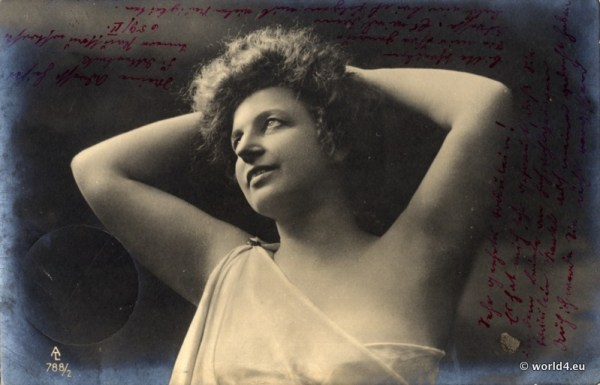 German girl in art nouveau fashion. Beautiful Girl from Germany in vintage boho costume. Art nouveau dress