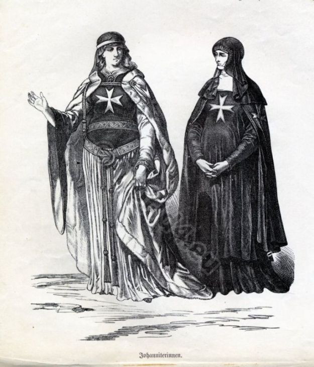 Monachism. Monastic costumes history. Nuns of St. John. habit.