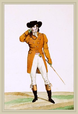 French incroyable costume. Dandy clothing. France revolution fashion.