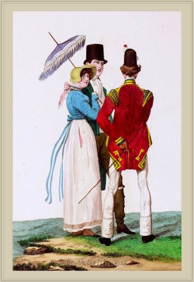French Incroyables and Merveilleuses costumes. France revolution fashion. Directoire, directory dresses and style.