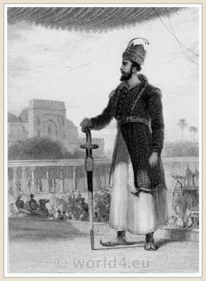 Sultan. India Mughal empire costumes. India national costumes.