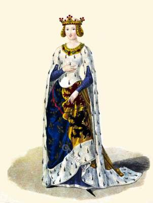 Marie de Hainaut, French Queen in the middle ages. French medieval clothing. Gothic dress.