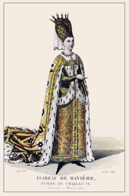 Isabeau de Baviere. French medieval court dress. Middle ages clothing. Burgundy costume.