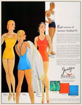 Vintage bathing suits. Retro swim suits 1930s. Beach fashion for men and women. Boho style.