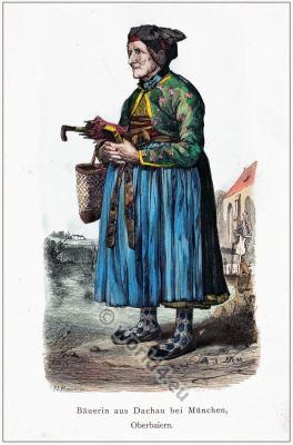 Traditional Bavarian clothing.  Bavaria folk dress dirndl. Country fashion from Upper Bavaria.