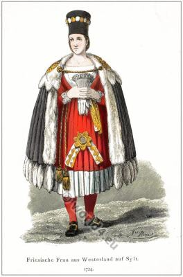 Traditional German Westerland Sylt costume.