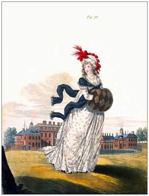 Jane Austen regency costumes. England Georgian Vintage Fashion