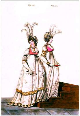 England Regency fashion. Georgian period clothing. Jane Austen Costumes. Directoire style, Neoclassical dresses