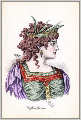 Coiffure Grèque. Greek Tiara, Diadem. Ancient Greek fashion.
