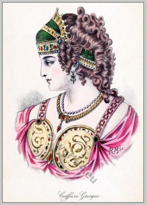 Ancient Greece diadem. Ancient Greek Tiara. Greece hairstyle. The Ancient Greek Costume.