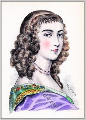 Ninon de Lenclos. Baroque period hairstyle. Coiffure Louis XIV. hairdos. French Ancien Régime fashion Curtisan