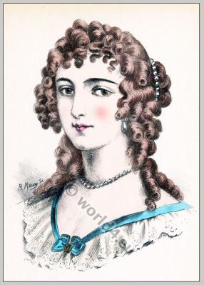 Madame de Maintenon. Louis XIV fashion. Baroque hairstyle 17th century.