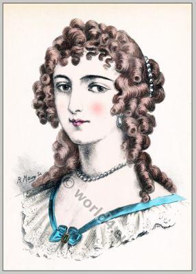 Madame de Maintenon. Baroque period hairstyle. Coiffure Louis XIV. hairdos. French Ancien Régime fashion Curtisan