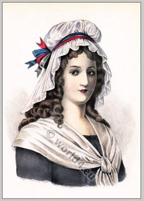 Charlotte Corday. 18th century costumes. French revolution fashion