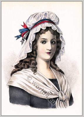 Charlotte Corday. French Revolution hairstyle. Historical hairdos. Directory fashion.