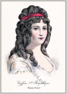 Madame Roland. Merveilleuse 18th century. French revolution hairstyle.