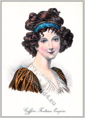 Madame Lebrun. France Empire hairstyle. French 19th century fashion