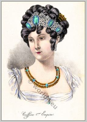 First Empire hairstyle. Coiffure Empire, 18th century fashion, Regency, Biedermeier era.