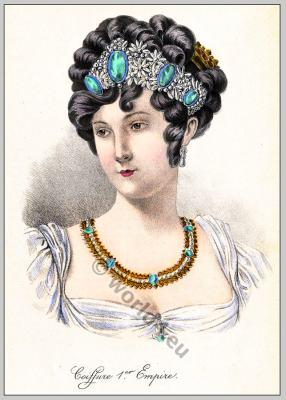 First Empire hairstyle. Coiffure Empire, 18th century fashion, Regency, Biedermeier era.
