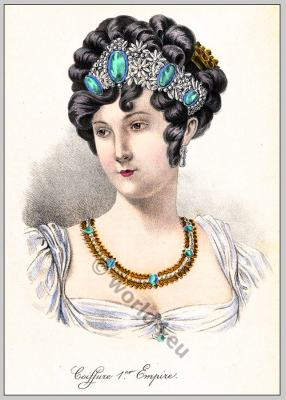 Empire hairstyle and jewlery. French Historical hairdos. France women`s fashion. Jane Austen style
