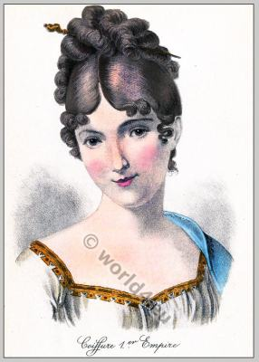 Empire hairstyle. French Historical hairdos. France women`s fashion.
