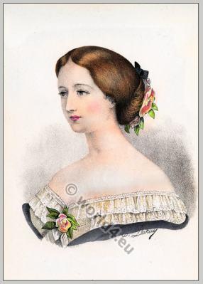 Eugénie de Montijo. L'Impératrice Eugénie. Empress of the French. Hairstyle Second Empire
