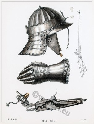 30 years war weapons. Helmet, gloves, Musketeer rifle. Armor, Musket in Detail.