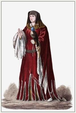 15th century Burgundian princess costume. Medieval Burgundy dress. Gothic fashion.
