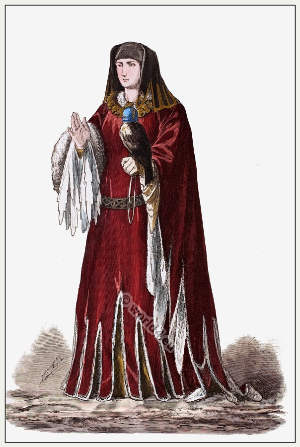15th century Burgundian princess costume. Medieval Burgundy dress. Gothic fashion.