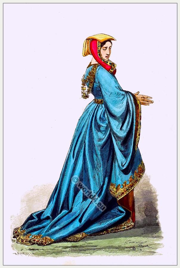 Medieval Burgundy costume. Gothic fashion.