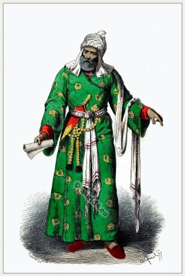 Persian middle ages costume. Iranian Middle east dress. Medieval Persian clothing