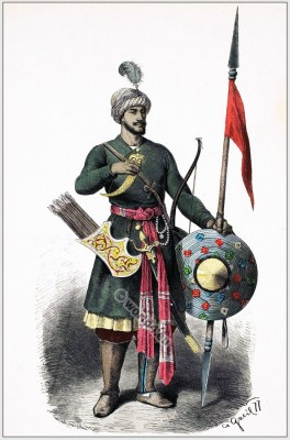 India soldier army dress. Asia Military. Hindu Warrior costume.