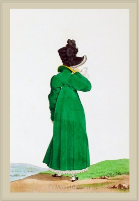 Merveilleuses Costume Redingote de Mérinos. France directoire, regency era fashion. Neoclassical costume plate by Horace Vernet.