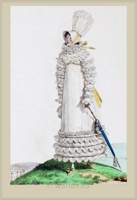 Robe de Perkale Garnie de Mousseline. Merveilleuses. France directoire, regency era fashion. Horace Vernet.
