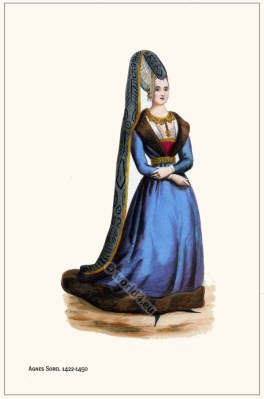 Agnes Sorel. French courtesan. Burgundy costume.