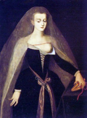 15th century costume. Medieval Women's Clothing. French courtesan. Middle Ages noble women in court dress. Renaissance and Burgundian fashion