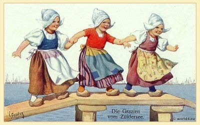 Traditional Netherlands girls dress. traditional costumes