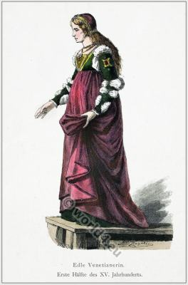 Renaissance woman clothing and headdress. Middle ages fashion and costume