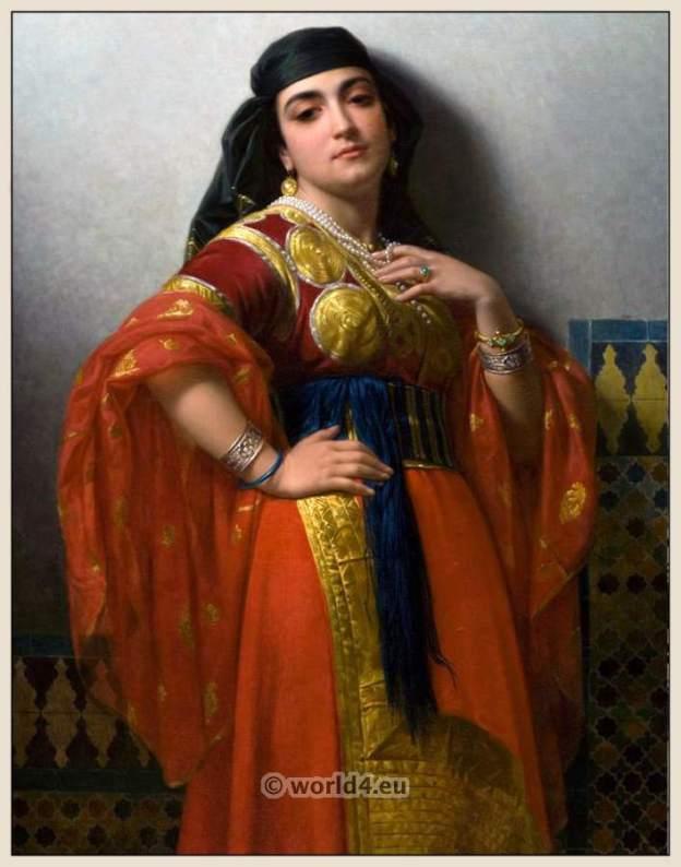 Traditional Jewish women costume and dresses. Arabian girls dress.