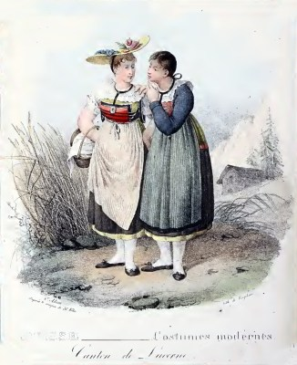 Traditional Switzerland costumes. Swiss folk clothing. Canton Lucerne costume.