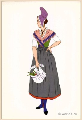 National France traditional dresses. woman folk costume. Woman from Pays de Caux Normandy