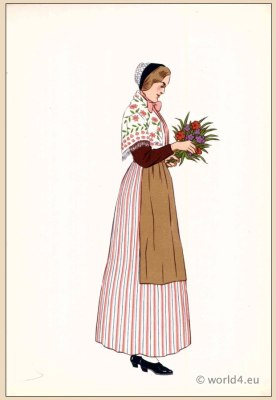 Traditional French national costumes. Woman folk clothing from Nancy, Region of Lorraine