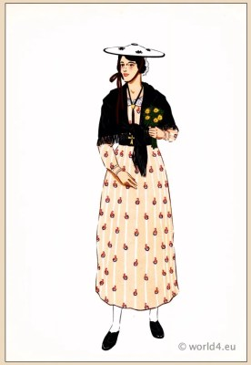 Traditional French national costumes. Woman folk dress from Provence